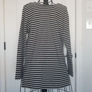 J. Jill black gray stripe long sleeve tunic shirt